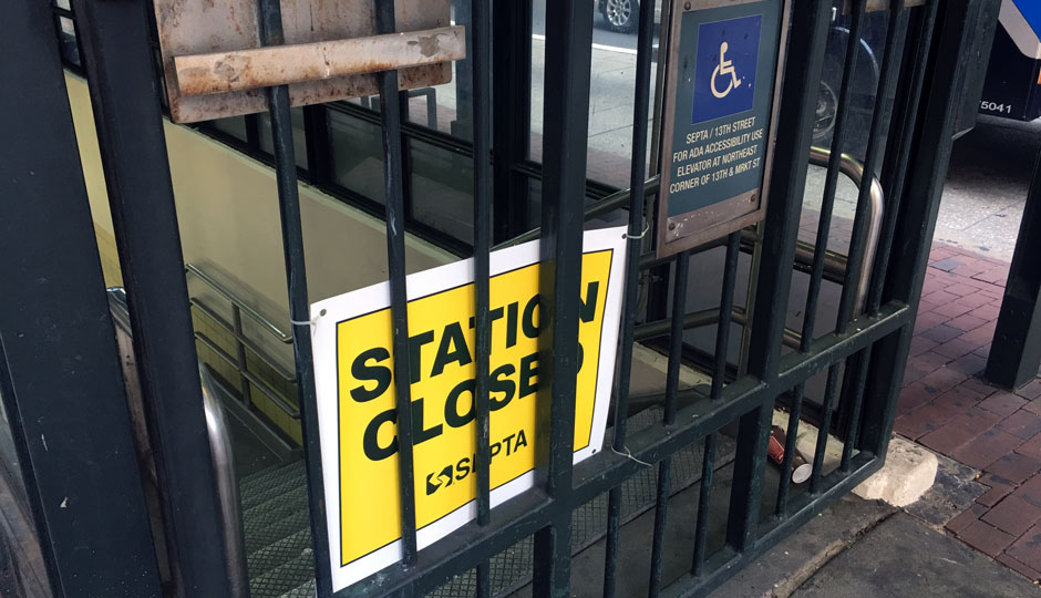 SEPTA station closed, 13th street