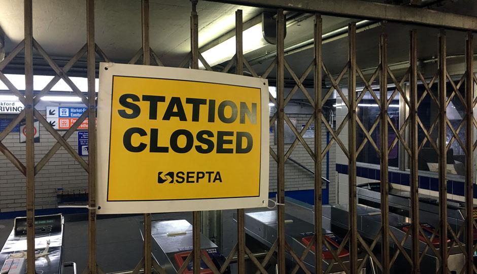 SEPTA 15th Street Station closed - locked gate