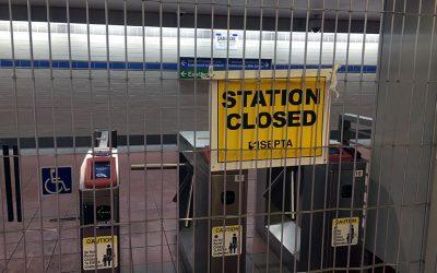 CLOSED STATION sign during SEPTA strike