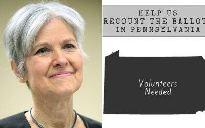 Jill Stein with Pennsylvania recount logo