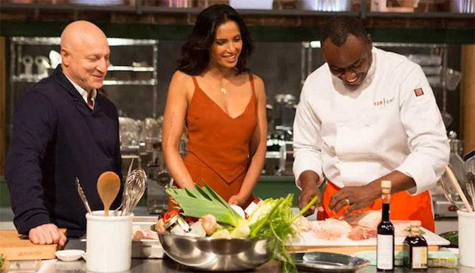 Tom Colicchio, Padma Lakshmi and Sylva Senat | Photo via BRAVO TV