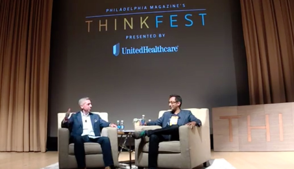 Bob Moul and Apu Gupta in conversation at ThinkFest 2016.