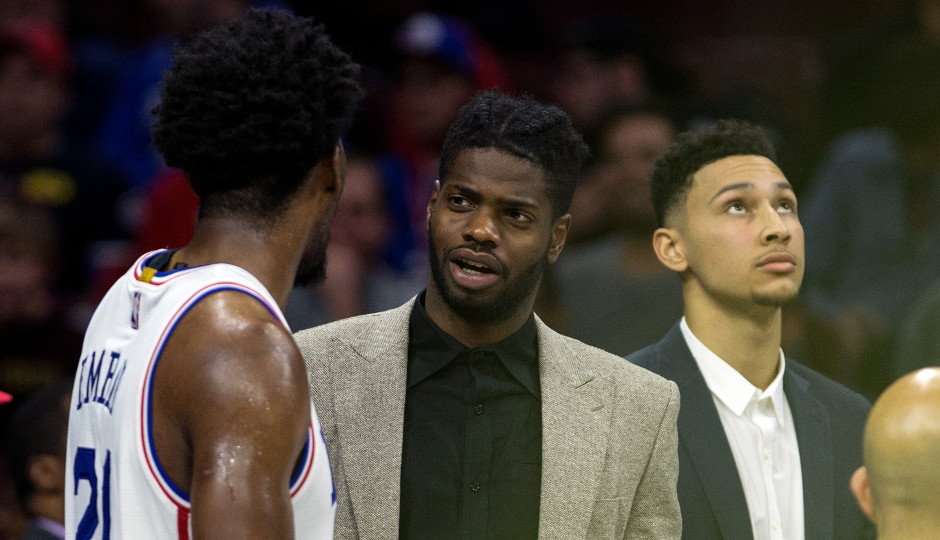 The Sixers aren't sure when center Nerlens Noel will find his way back to the lineup | Bill Streicher-USA TODAY Sports