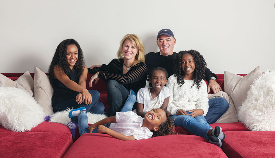 Lauren Hart and Todd Carmichael with daughters (from left) Yemi, Bek, Selah and Yordi Hart Carmichael | Photograph by Colin Lenton