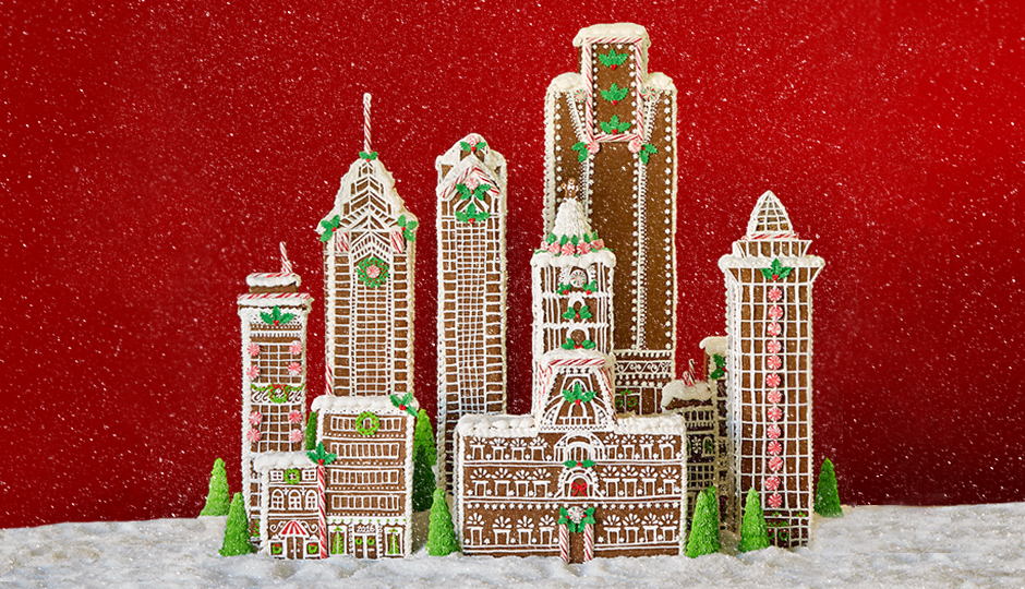 A sweet rendering of the Philly skyline—complete with a tiny gingerbread William Penn—created by Bredenbeck's Bakery in Chestnut Hill. | Photograph by Brett Thomas