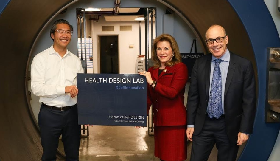 Jefferson University Professor Bon Ku; Special Assistant to the President and CEO, Vice President for Innovation Partnerships and Programs, Donna Gentile O'Donnell; President and CEO of Thomas Jefferson University and Jefferson Health, Stephen K. Klasko. Photo courtesy of Jefferson University.