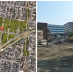 Development projects are planned for Logan Triangle (L) and the former University City High School (R).