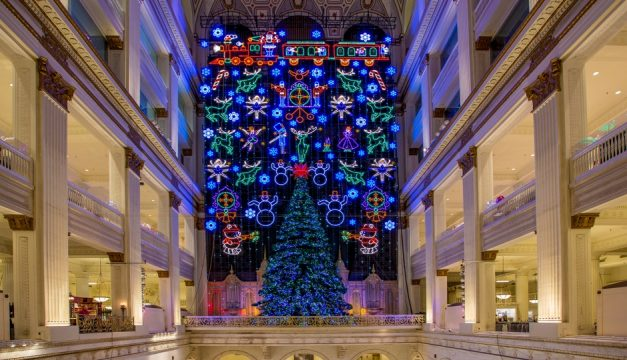 A Philadelphia tradition since 1956, the free Christmas Light Show at Macy's in Center City illuminates the Wanamaker building, a National Historic Landmark, with almost 100,000 LED lights and finishes with sounds from the Wanamaker Organ. Photo by J. Fusco for Visit Philadelphia