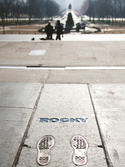 Bronze footprints mark the spot where Rocky Balboa leaped for joy in the classic film Rocky. | Photo by M. Fischetti for Visit Philadelphia