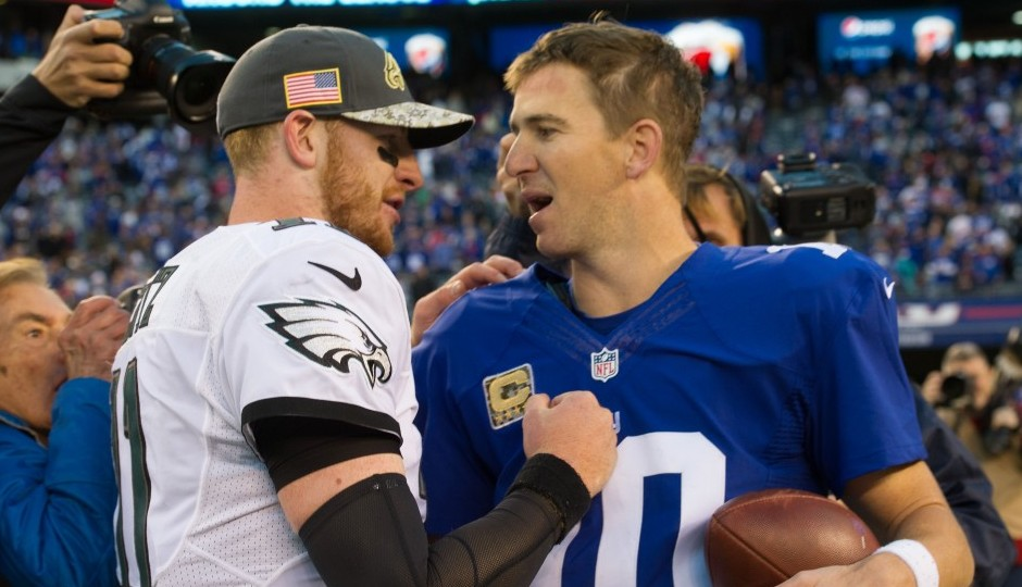 Carson Wentz and Eli Manning. (USA Today Sports)