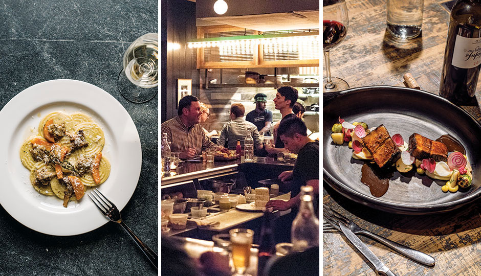 From left: Corzetti rabbit pasta from Wm. Mulherin's Sons in Fishtown; Bud & Marilyn's in Midtown Village; Spice-rubbed wagyu brisket at Vernick Food & Drink in Rittenhouse. | Photography by Christopher Leaman
