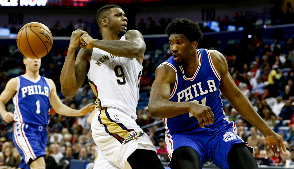 Joel Embiid knocks the ball away from Terrence Jones during last week's win over the New Orleans Pelicans | Derick E. Hingle-USA TODAY Sports