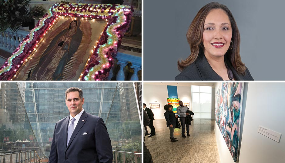 Clockwise from upper left: Preparation at St. Thomas Aquinas for Our Lady of Guadalupe procession (Bethany Welch); Yvette Núñez; at the opening of the El Corazón Center (José Hernandez); Rich Negrín.