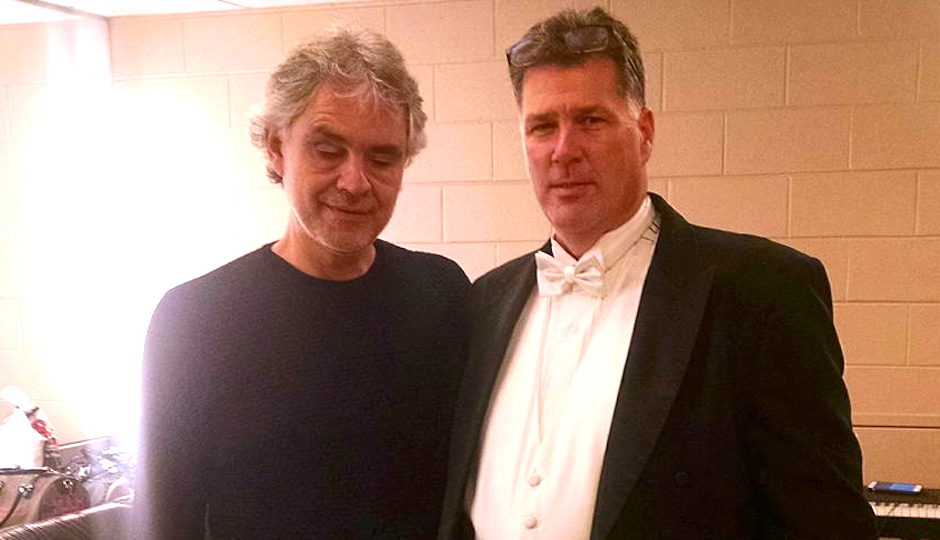Backstage at Wells Fargo Center with Andrea Bocelli.