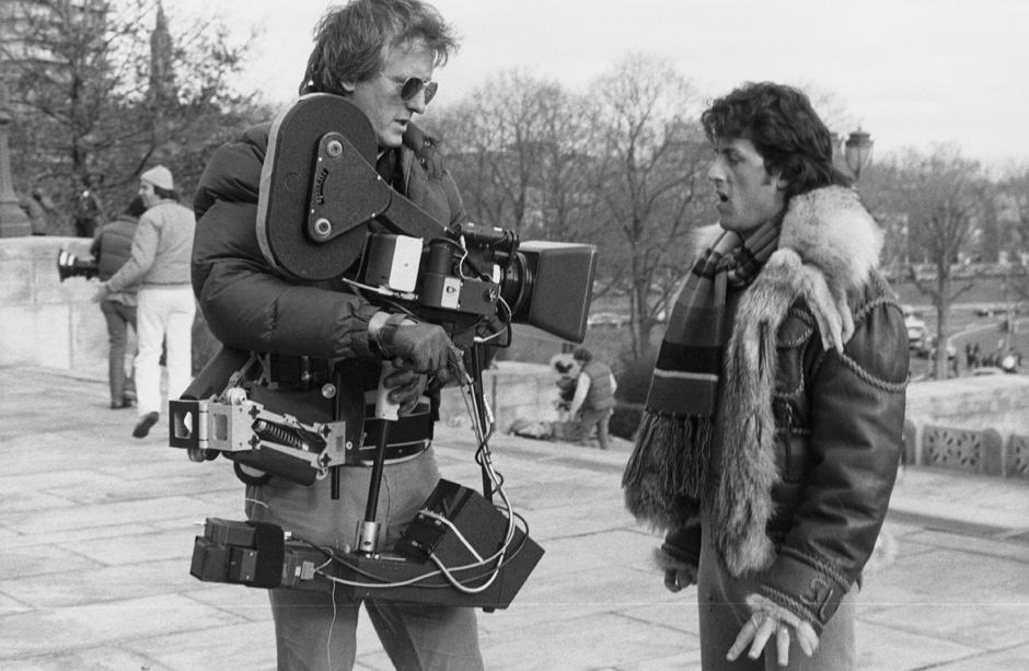 Steadicam inventor Garrett Brown and Stallone filming Rocky II in 1978.