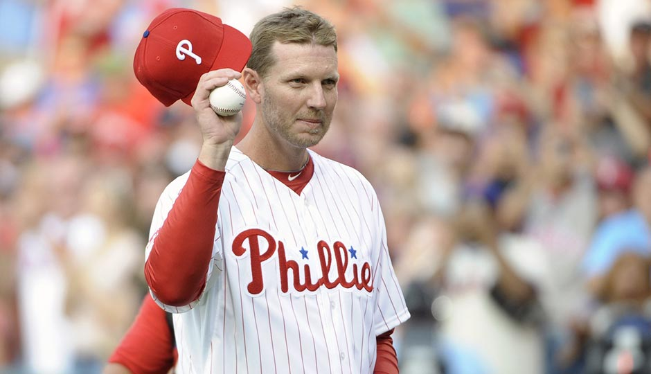 Roy Halladay acknowledging the crowd before throwing out a ceremonial first pitch in August 2014. Photo: Eric Hartline, USA Today Sports