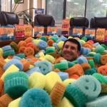 Aaron Krause in a sea of Scrub Daddy sponges. Image courtesy of Scrub Daddy.