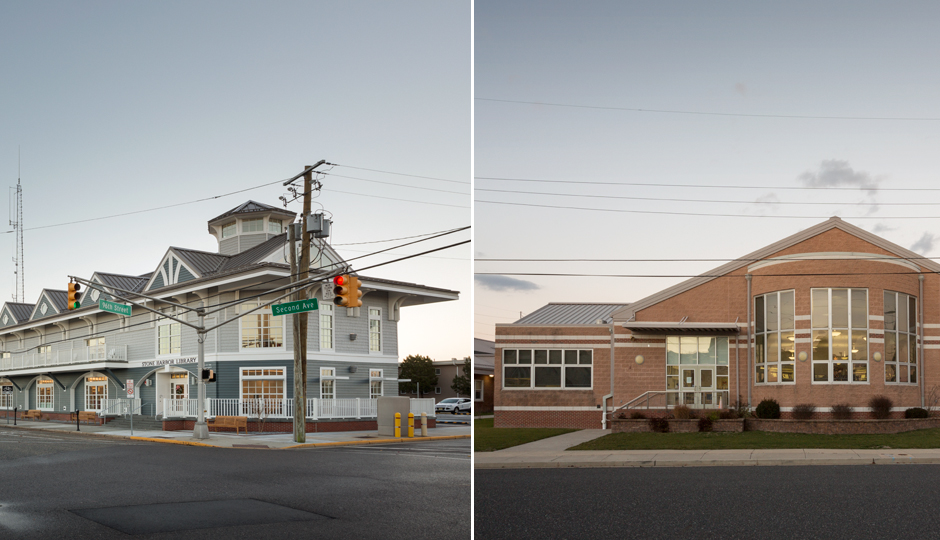 Stone Harbor's new $4.2 million library, left, which sits just three miles from Avalon's equally posh library, right. | Photographs by Eric Prine