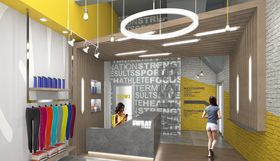 A rendering of the entrance to SWEAT Fitness's new Midtown Village location.