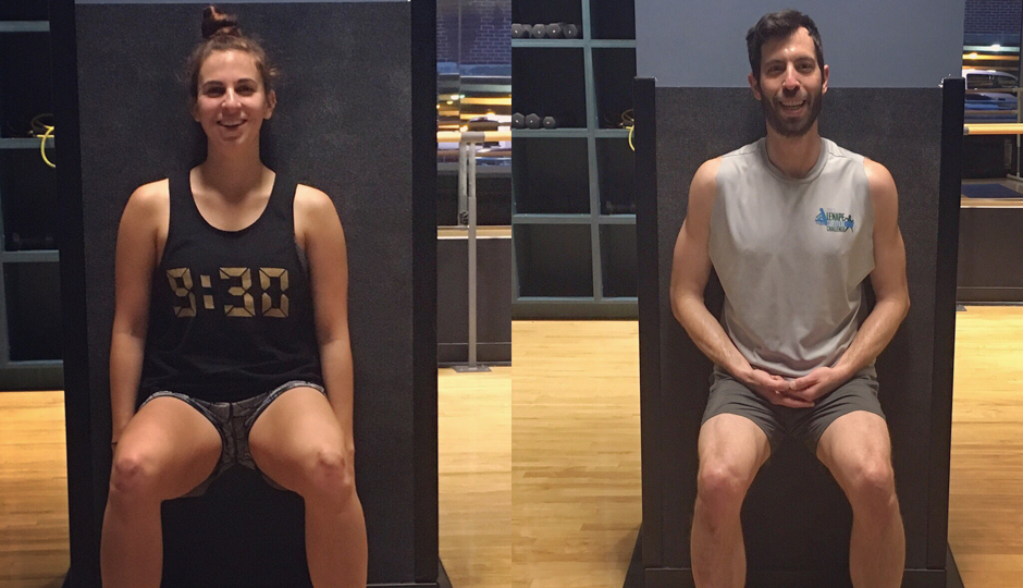 Alon and Rebecca tackling a minute of wall sits.
