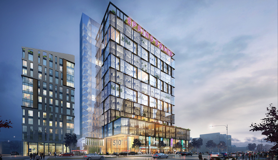 Parkway Corporation's proposed development at Broad and Spring Garden would add offices to the residence-retail mix found in other North Broad projects currently underway. | Rendering © BLT Architects