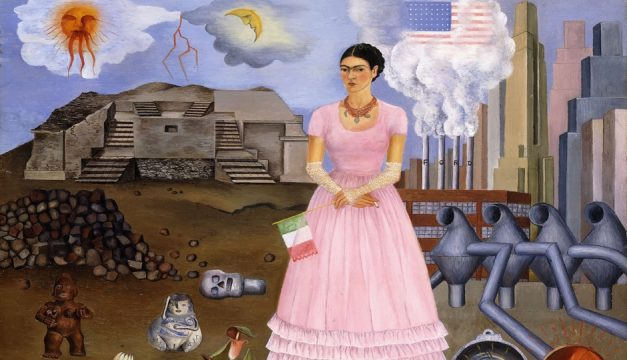 Self-Portrait on the Border Line Between Mexico and the United States, 1932, Frida Kahlo, Oil on metal, 12-1/2 x 13-3/4 inches (31.8 x 34.9 cm), (Colección Maria y Manuel Reyero, New York) © Banco de México Diego Rivera Frida Kahlo Museums Trust, Mexico, D.F./Artists Rights Society (ARS), New York