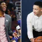 Left: Joel Embiid (Cal Sport Media/Associated Press); right: Ben Simmons (Steven Freeman/NBAE/Getty Images)