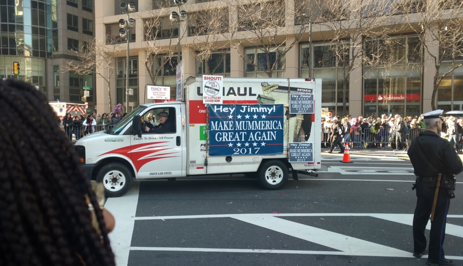 """""""Make Mummerica Great Again"""" truck at the 2017 Mummers Parade.   Photo by Ernest Owens."""