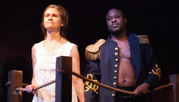 Susan Riley Stevens and Akeem Davis is Marcus/Emma at Interact Theatre Company. (Photo by Kathryn Raines / Plate 3)