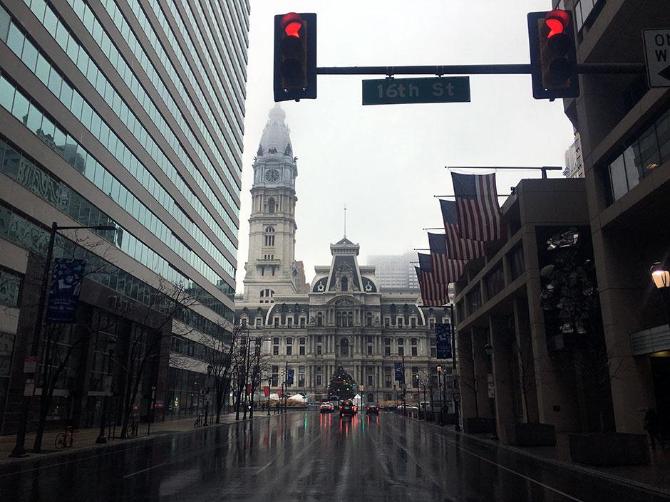 a rainy Center City day on January 2nd, 2017