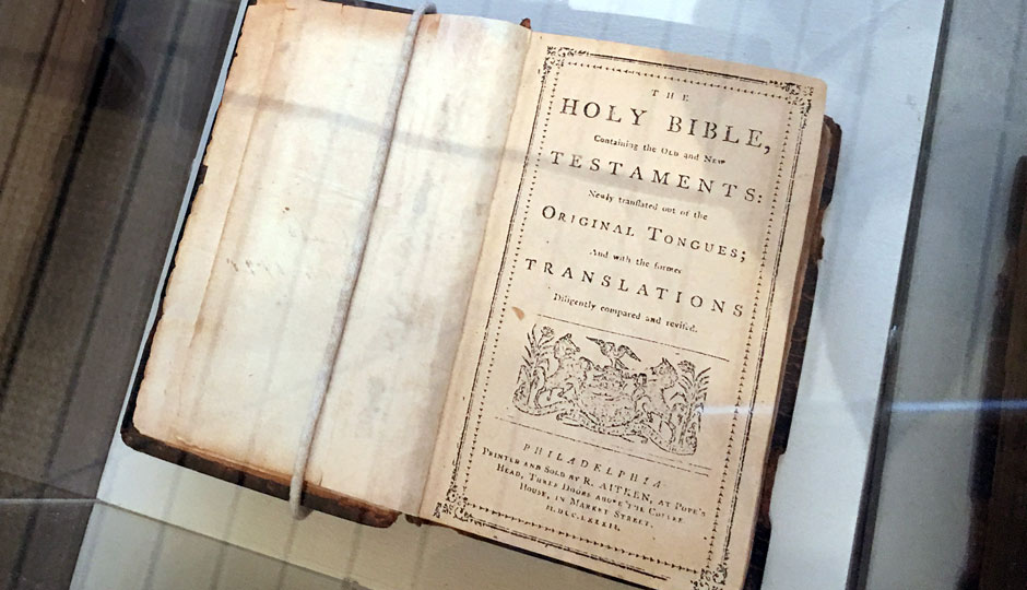 One of 40 known copies of the 1782 Aitkin Bible, the first printed in the newly-formed United States, was on display at the Independence Visitors Center today   Photo: Dan McQuade