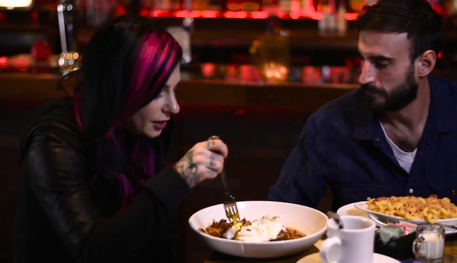 Porn star Joanna Angel dines at Franky Bradley's with N.A. Poe.