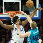 Sixers center Joel Embiid blocks Cody Zeller at the rim | Bill Streicher-USA TODAY Sports