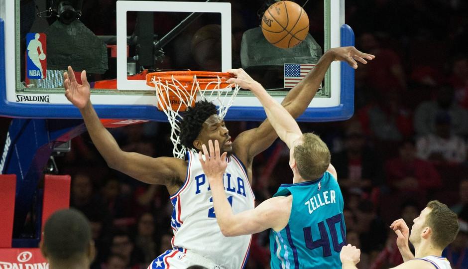 Sixers center Joel Embiid blocks Cody Zeller at the rim   Bill Streicher-USA TODAY Sports