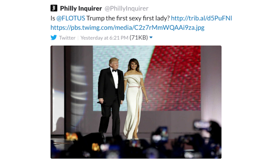 A screenshot of the Inquirer's Sunday night tweet about Melania Trump.