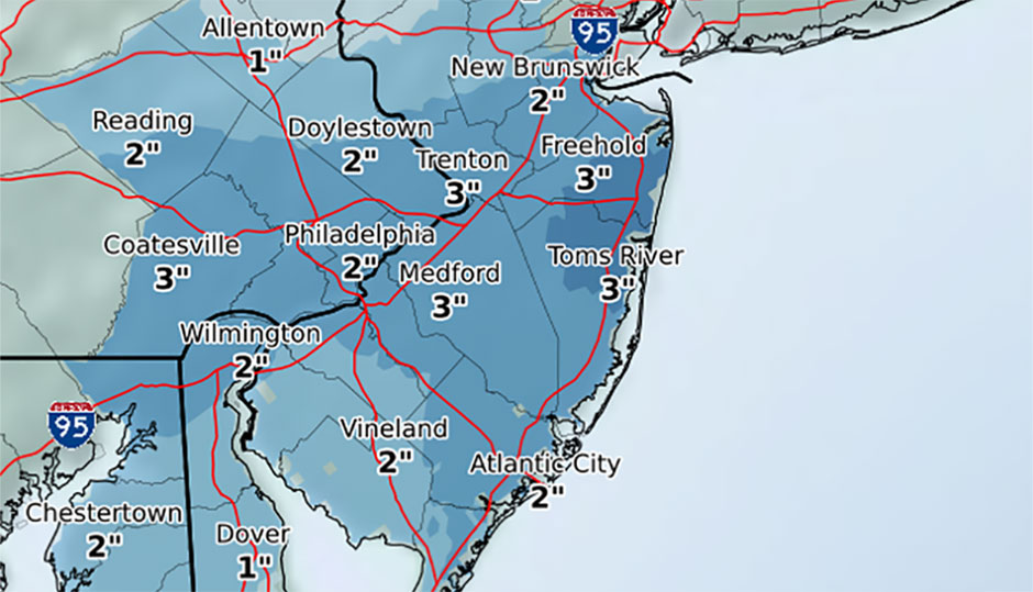 Snowfall totals from National Weather Service