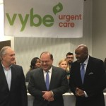 vybe urgent care president Peter Hotz with Councilman Allan Domb and former Philadelphia Eagle Mike Quick at the Center City vybe urgent care ribbon cutting ceremony.