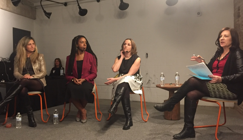 """From left to right: Comcast's director of entrepreneurial engagement Danielle Cohn; Stimulus CEO Tiffanie Stanard; Salesforce VP of SMB Sales Stephanie Glenn; and Robin Hood Ventures executive director Ellen Weber at WeWork's first """"Future of Philly"""" event at their Northern Liberties location."""