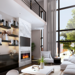 Rendering of the living room at 216 S. 3rd St. | Renderings: Canno Design via Philly Living / Keller Williams Realty