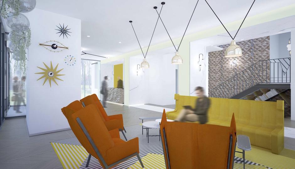 Maidenberg's rendering of the Adams lobby.
