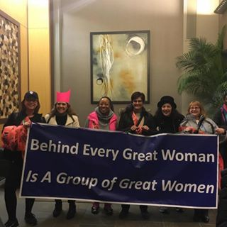Ellen Weber and friends are prepared for the Women's March on January 21, 2017.