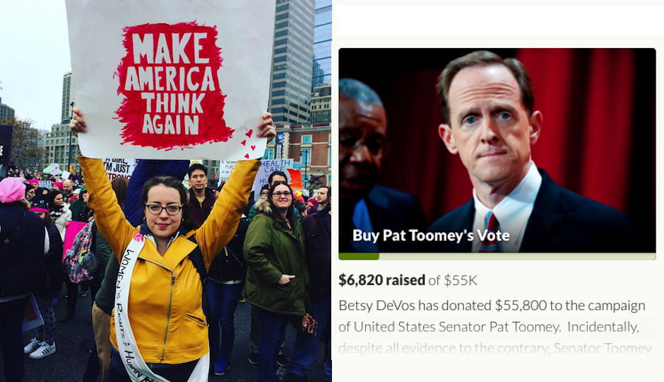"""Left: Katherine Fritz protests in Philly on January 21st. Right: A screenshot of her GoFundMe campaign to """"Buy Pat Toomey's Vote."""""""
