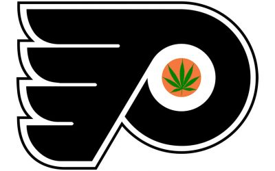 Flyers logo with a pot leaf in the center