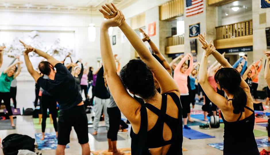HgAthletics pop-up yoga at 30th Street Station | Photo via Facebook