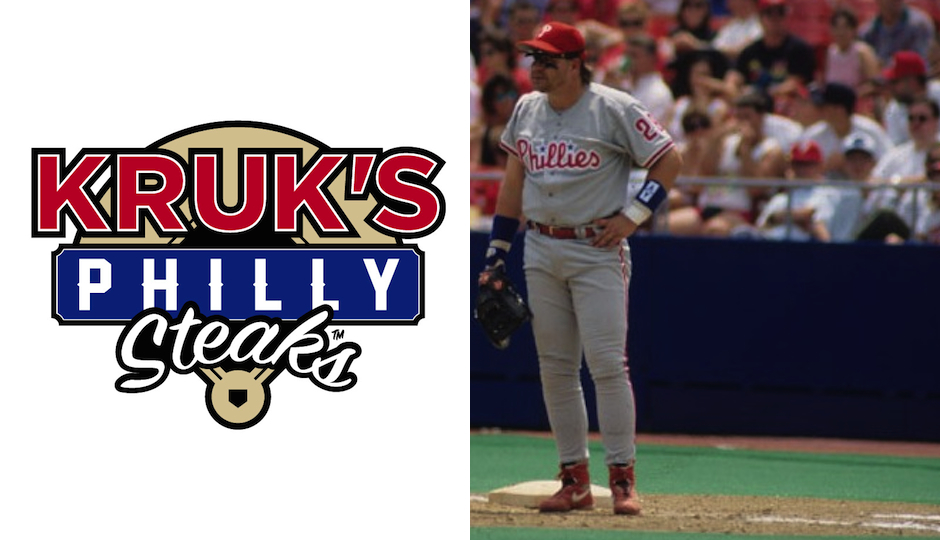 Left: The logo for Kruk's Philly Steaks. Right: Kruk with the Phillies in 1992. (Photo via Missouri State Archives/Wikimedia Commons)