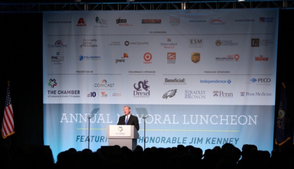 Mayor Kenney at the Greater Philadelphia Chamber of Commerce's 34th annual mayoral lunch. | Photo via Twitter.
