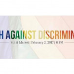 """March Against Discrimination"" banner"