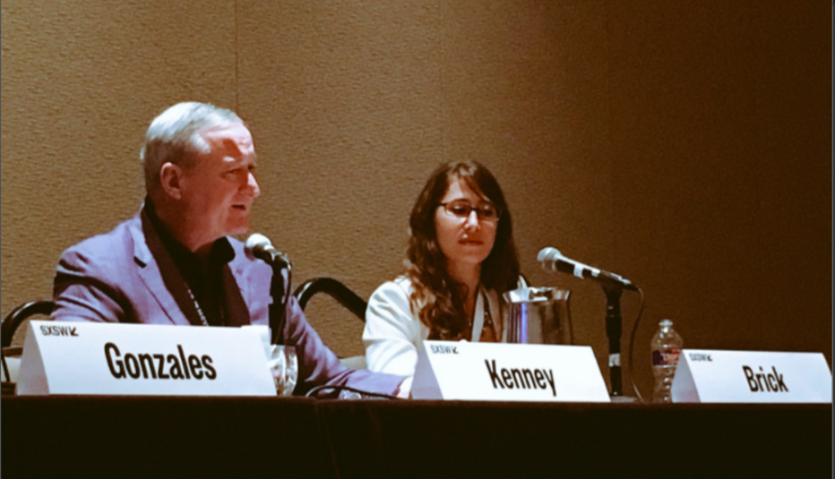 Mayor Kenney sits on 'Building Bridges When Others Want to Build Walls' panel at SXSW. Image via Twitter.