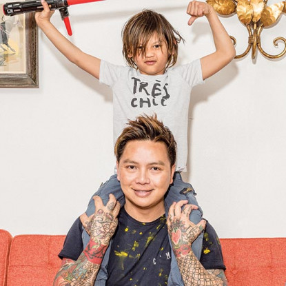 Laurentius Purnama and his son, Jude. Photograph by Christopher Leaman.