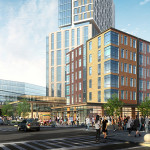 A view of the proposed North Station District development's first phase. | Rendering: Spagnolo Group Architecture